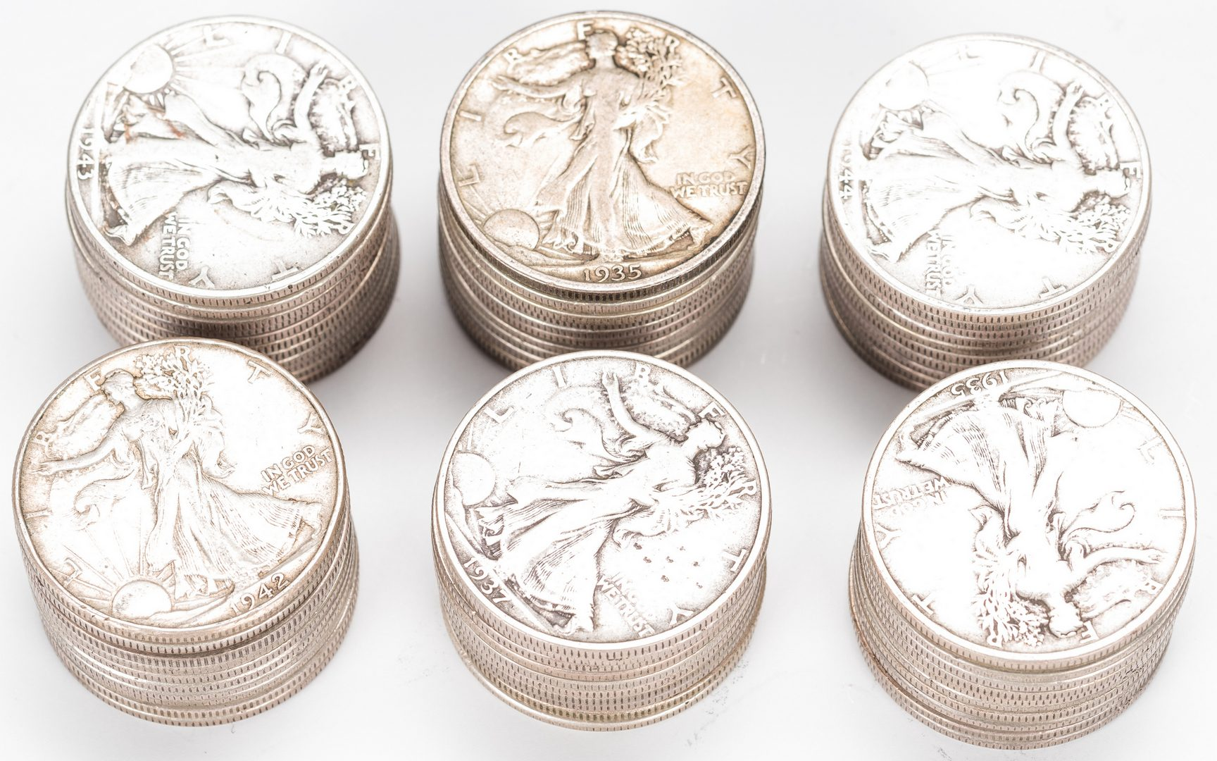 Lot 894: 68 U.S. Silver Half Dollars (1876-1947)