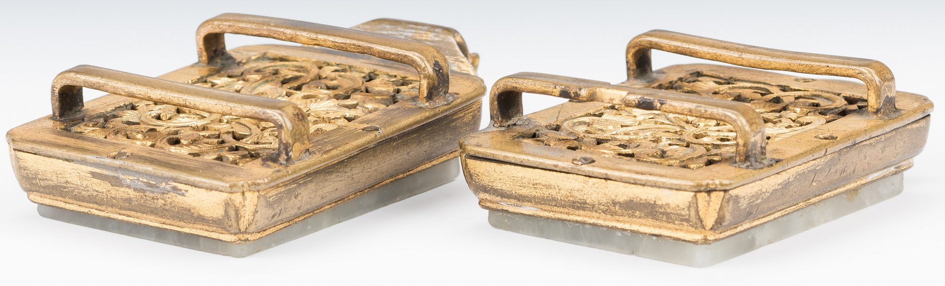 Lot 8: Chinese Carved Jade & Gilt Bronze Belt Ornament