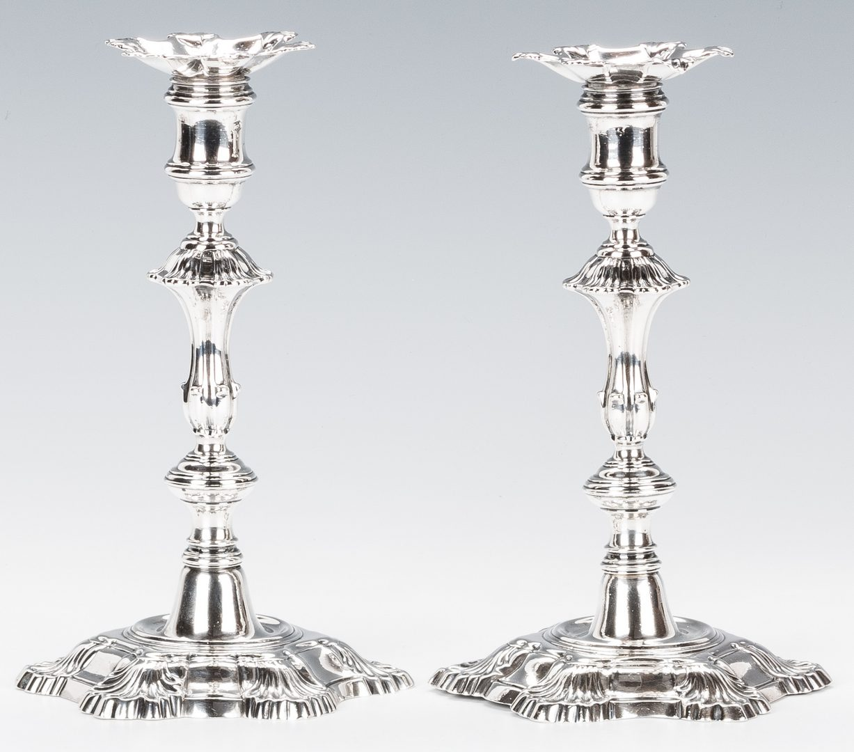 Lot 90: Pr. George II Sterling Silver Candlesticks