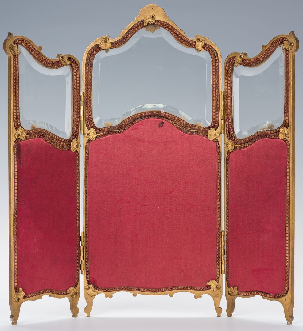 Lot 91: Large French Enamel, Gilt Bronze Table Screen