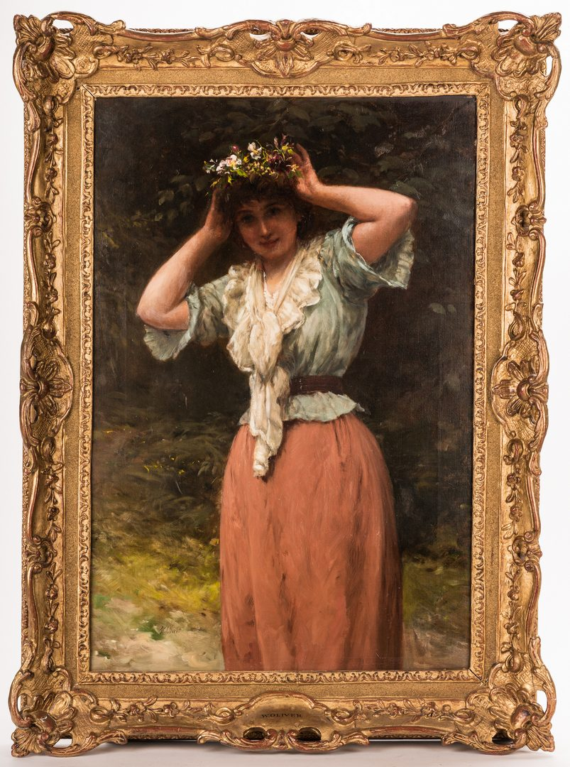 Lot 93: William Oliver, O/C, Woman with Floral Wreath