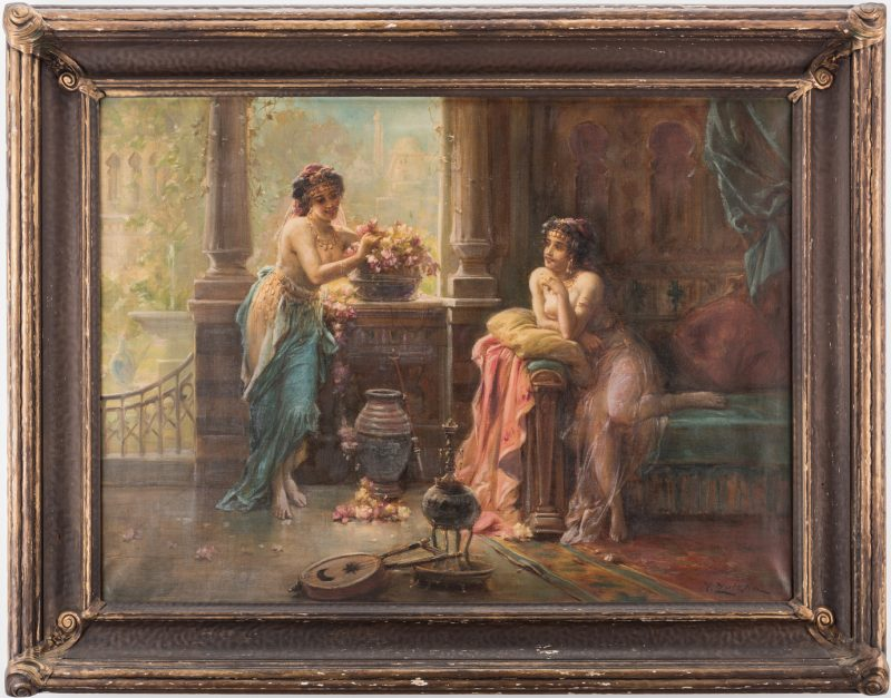 Lot 94: Hans Zatzka Oil on Canvas Orientalist Scene