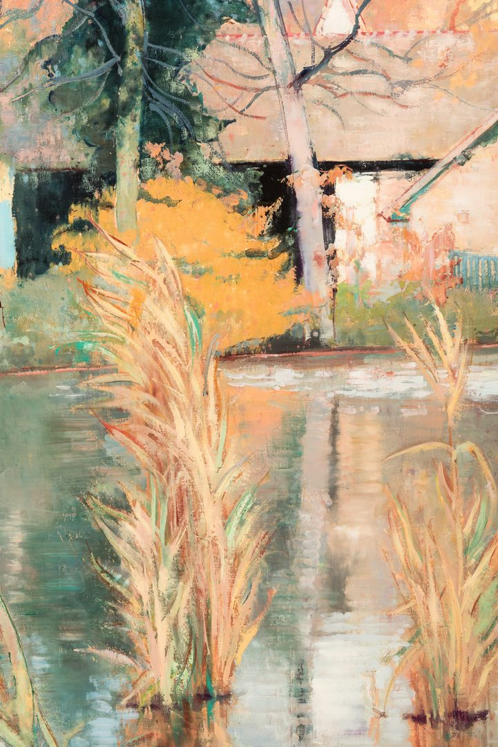 Lot 95: Andre Vignoles, O/C, Pond at Chenes