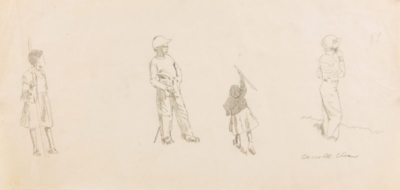 Lot 105: Carroll Cloar Drawing, Children at Play