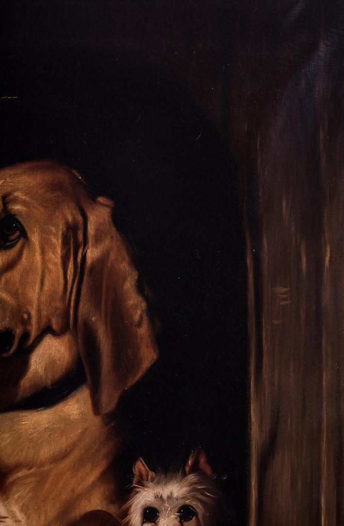 Lot 108: American School Oil on Canvas of Hound & Terrier, after Landseer