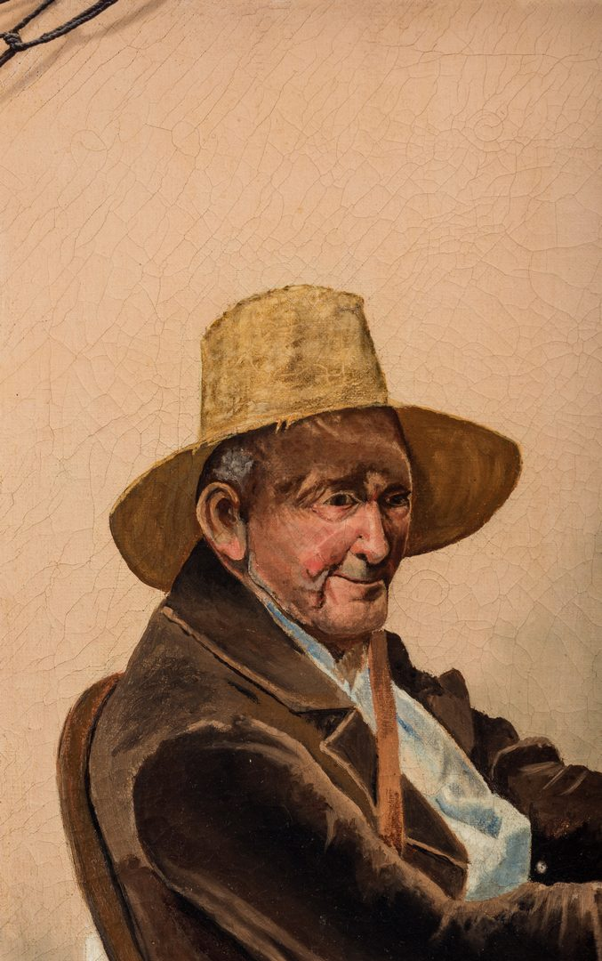 Lot 109: 19th c. Genre Scene, Fisherman