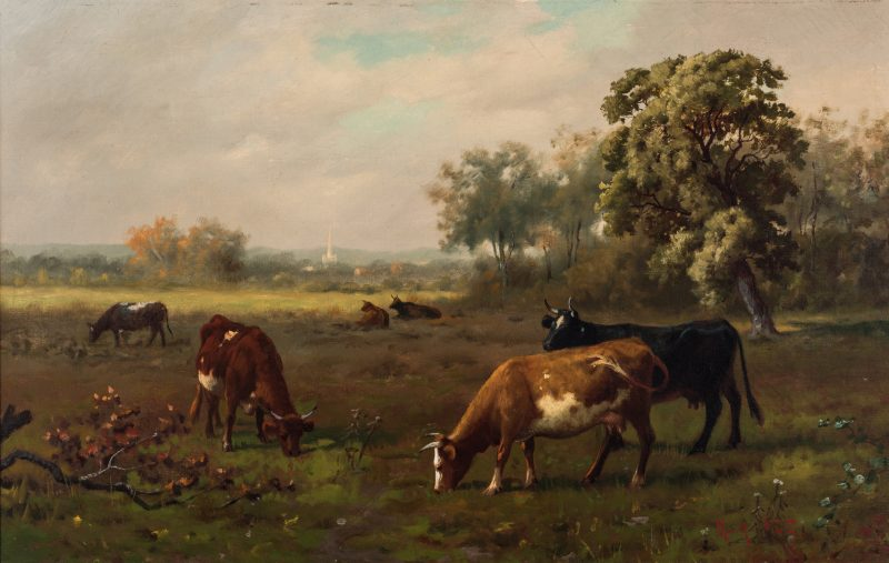 Lot 110: Robert Atkinson Fox, O/C, Cows in Meadow