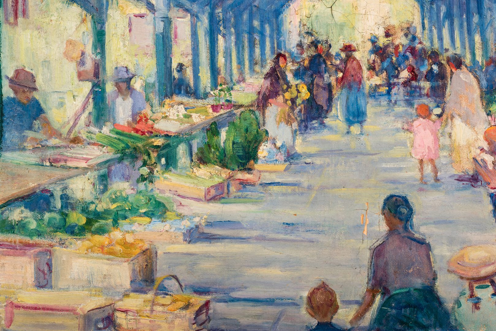 Lot 113: Rachel Hartley O/C Market Scene