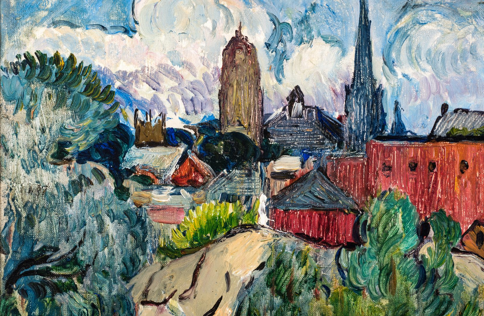 Lot 114: Hayley Lever O/C, View of Boston