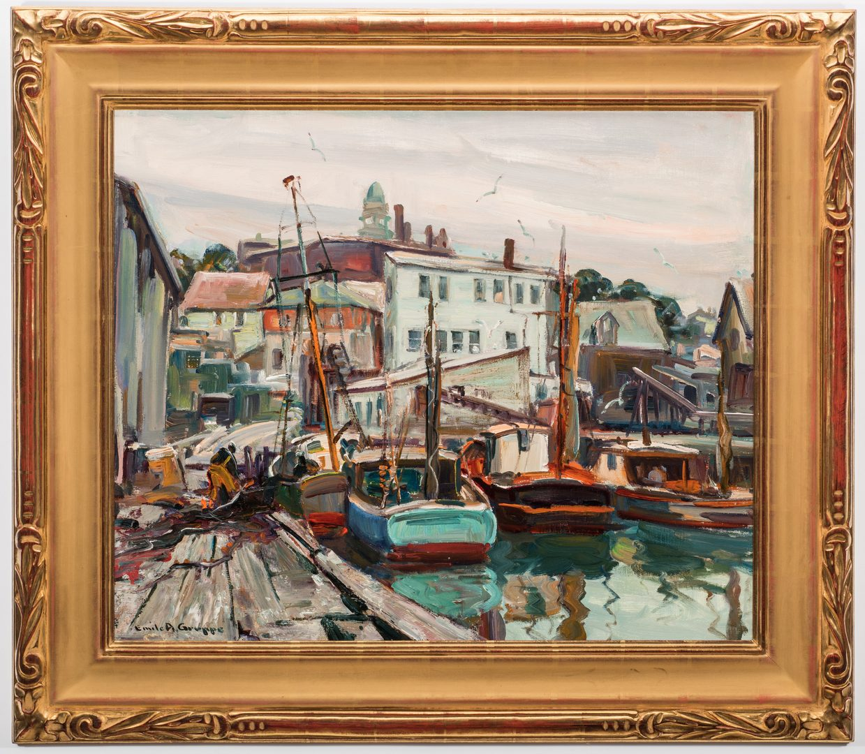 Lot 116: Emile Albert Gruppe O/C, Gloucester Harbor
