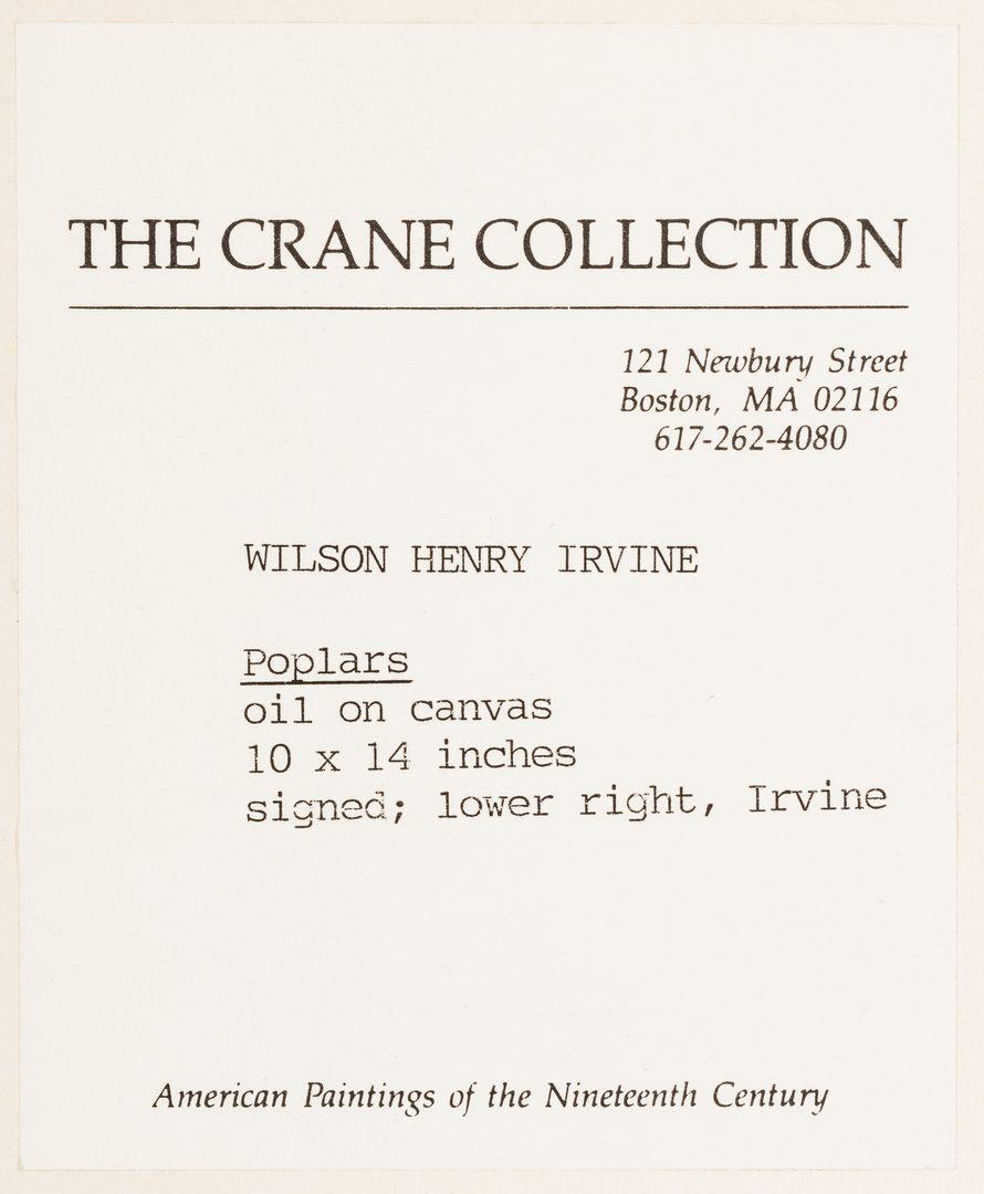Lot 119: Wilson Henry Irvine O/C, landscape w/poplars