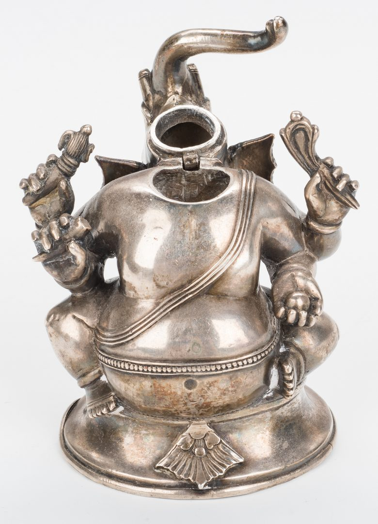 Lot 11: Ancient Chinese Bronze Figure; Tibetan Silver Elephant/Buddha Figure