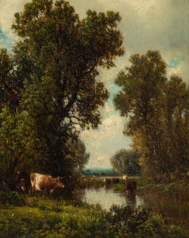 Lot 124: William Hart Oil Landscape with Cattle