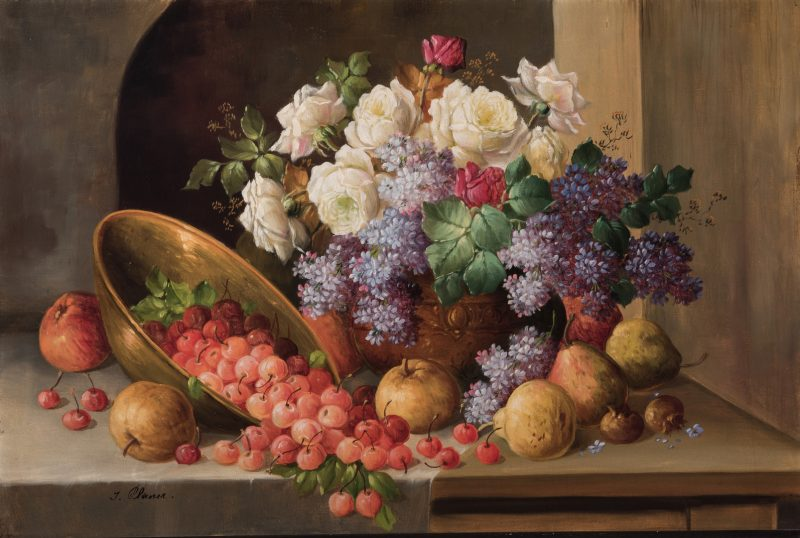 Lot 126: Josef Planer, O/C Floral, Fruit Still Life
