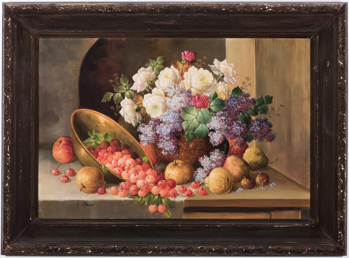 Lot 126: Josef Planer, O/C Floral, Fruit Still Life