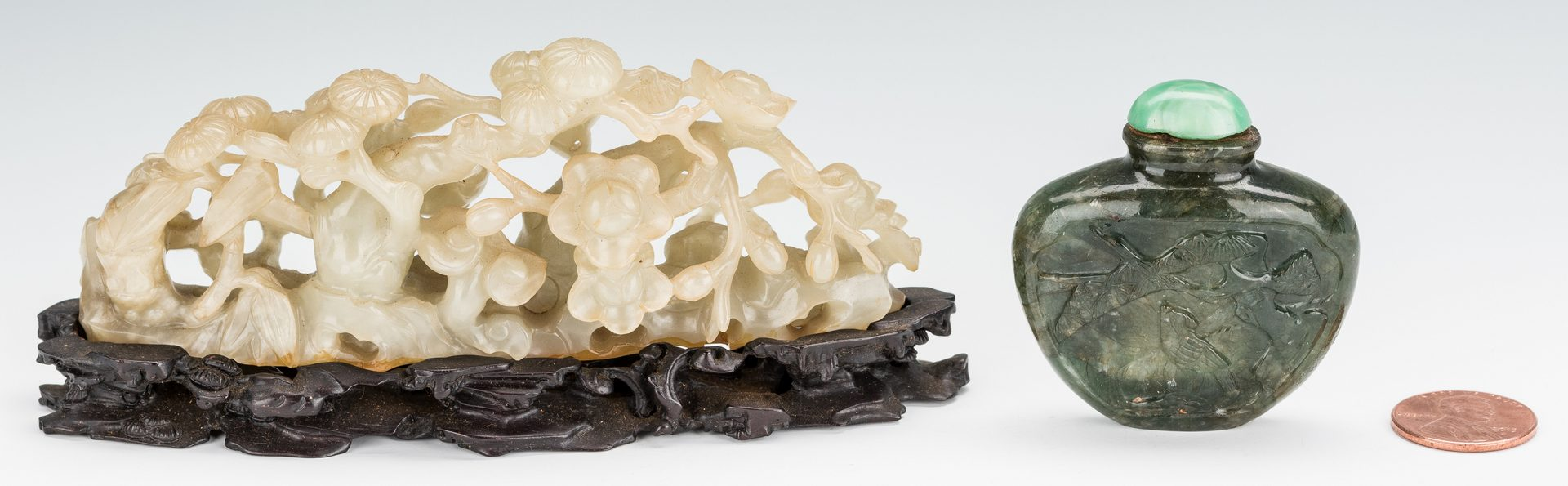 Lot 12: Chinese Carved Jade Boulder and Snuff Bottle