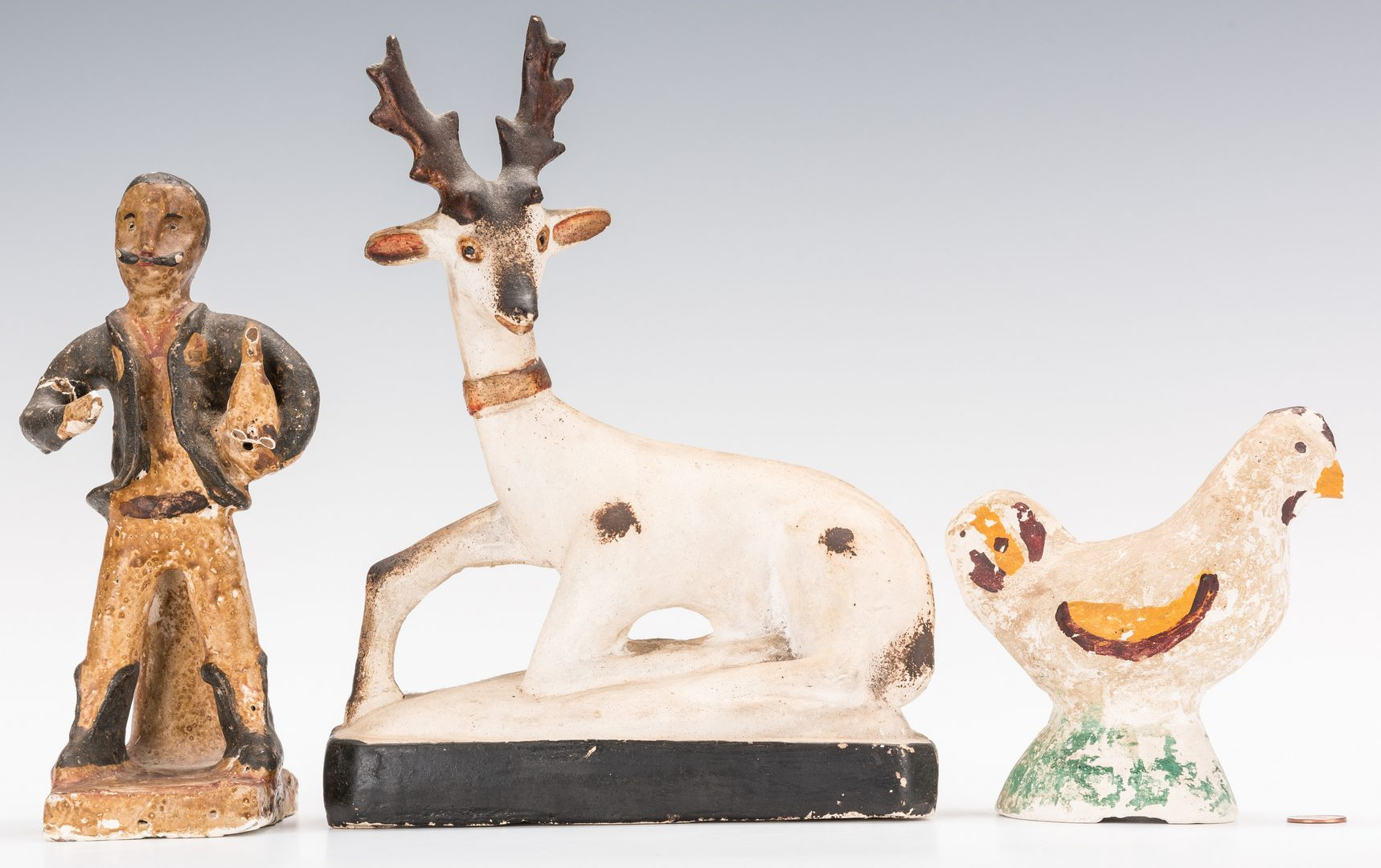 Lot 131: 3 Chalkware Figures, incl. Deer