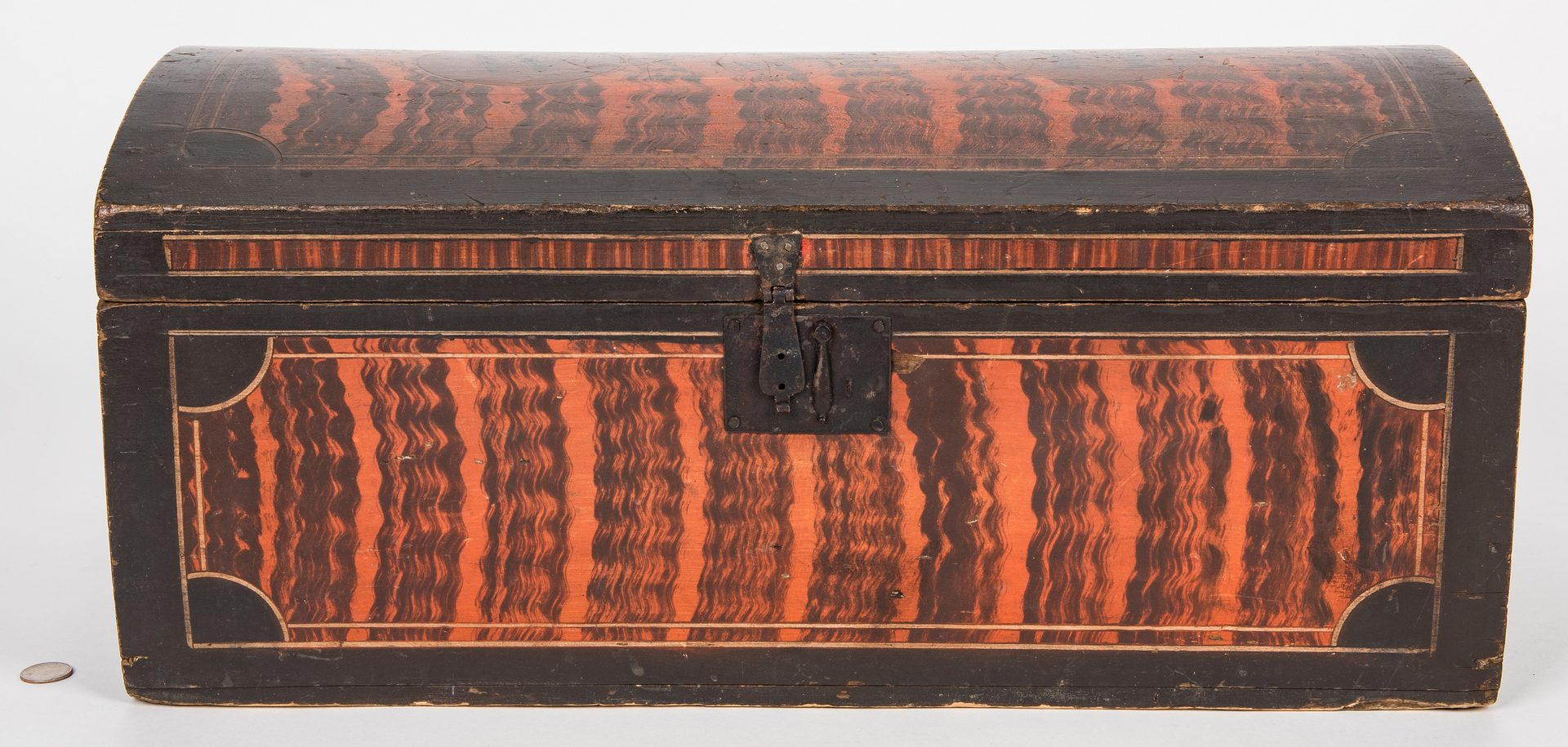 Lot 132: New England Grain Painted Dome-top Chest