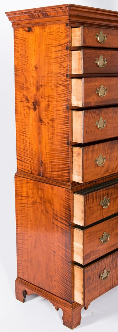 Lot 137: Tiger Maple Chest on Chest, NH Provenance