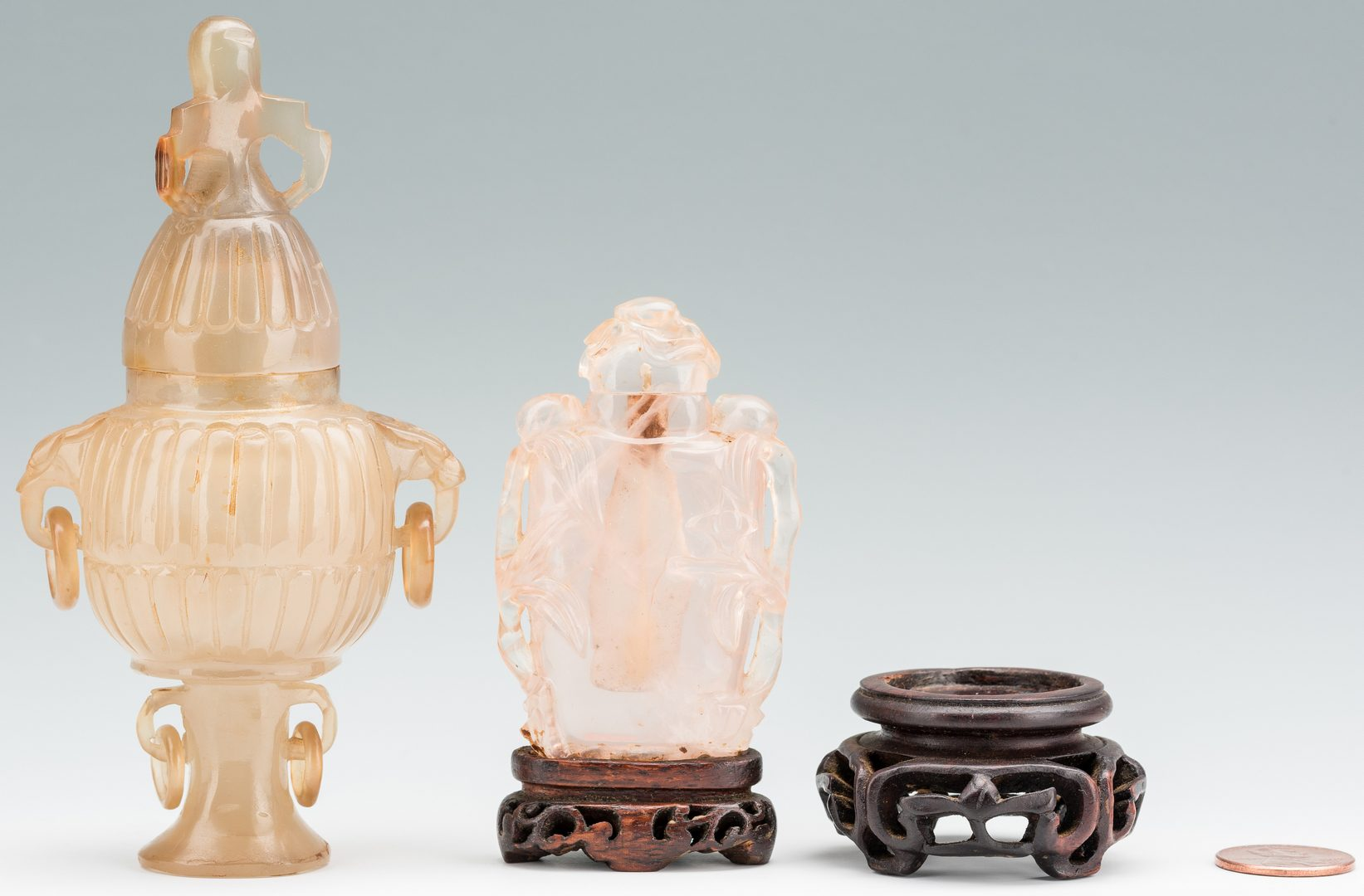 Lot 13: 2 Carved Chinese Quartz Items, Urn & Bottle