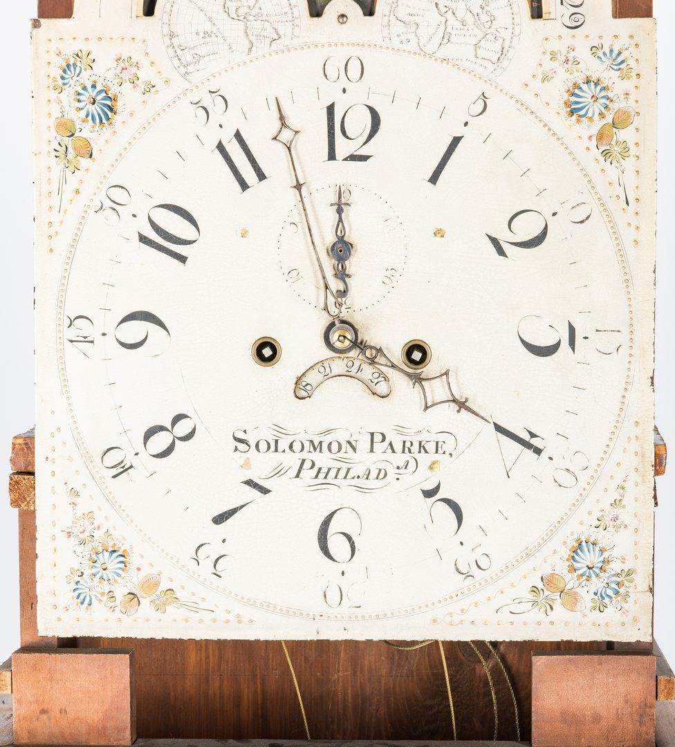 Lot 140: Soloman Parke Federal Inlaid Tall Clock