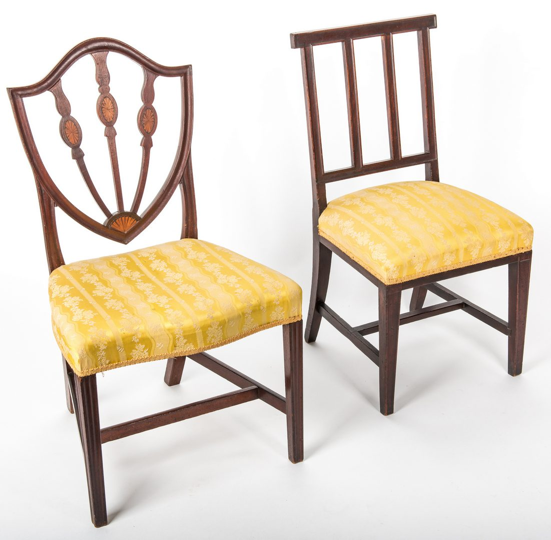Lot 142: Two Federal American Side Chairs, Coleman History, one inlaid