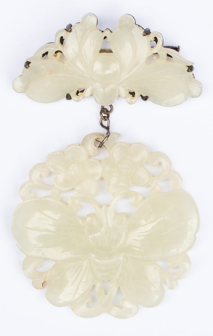 Lot 14: White Jade Brooch: Bee and Butterfly