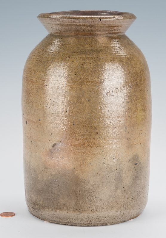 Lot 166: NC Stoneware Preserving Jar, Wright Davis