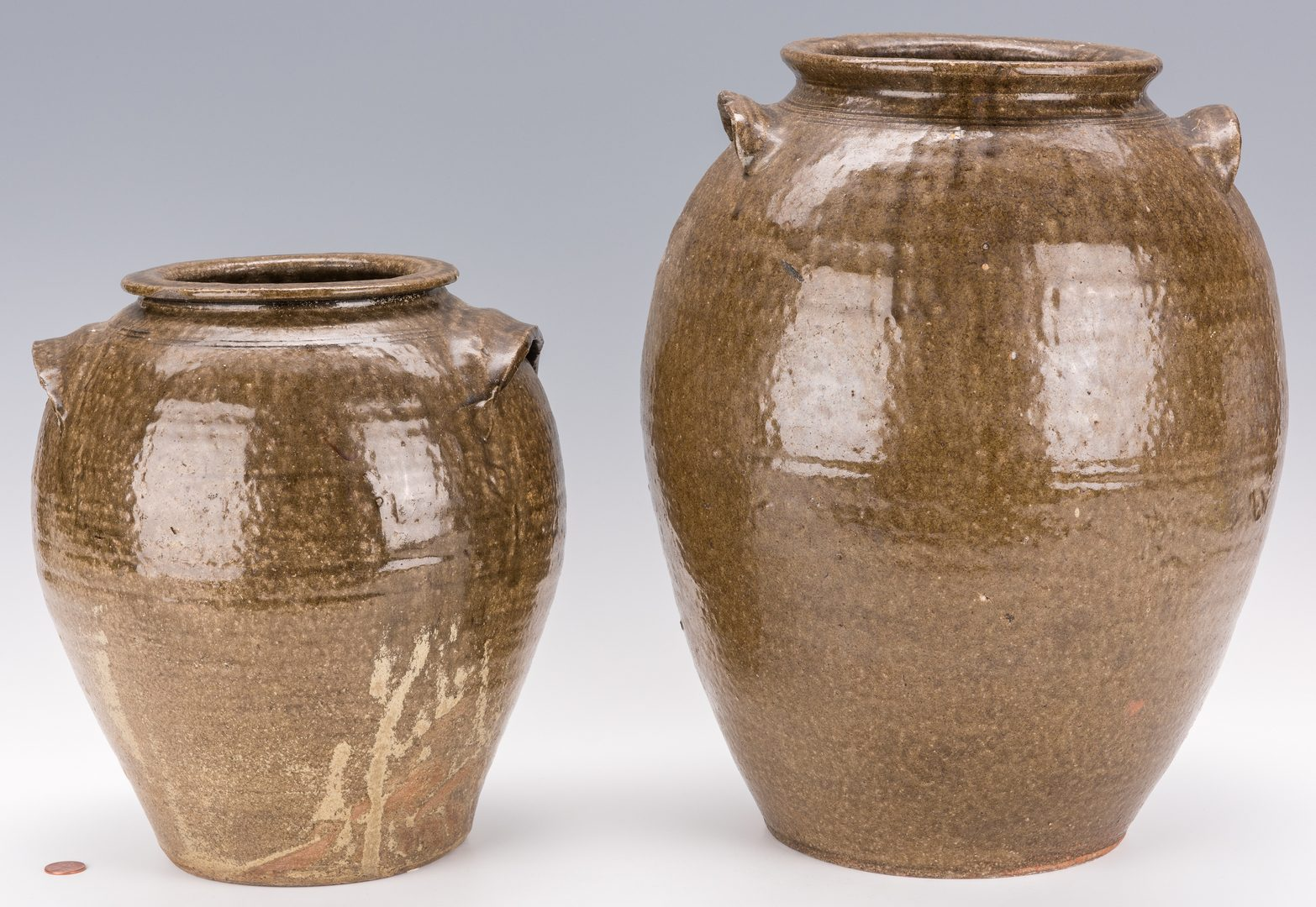 Lot 167: 2 NC Aklaline Glaze Pottery Jars