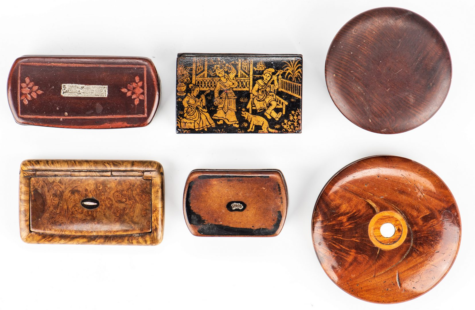 Lot 172: Collection of 6 burlwood snuff boxes