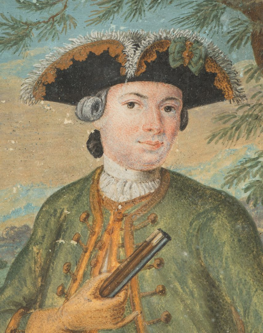 Lot 174: 4 miniature portraits, inc. Gent with Musket
