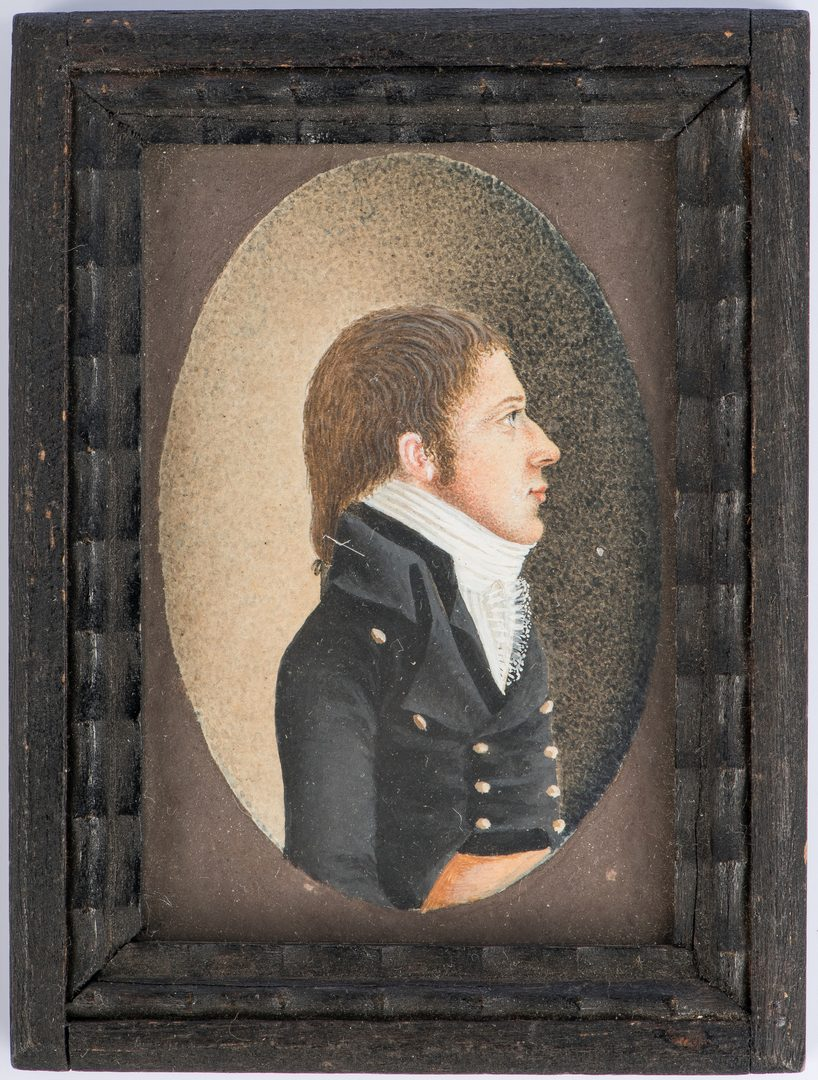 Lot 176: Miniature portrait attr. J. Sharples