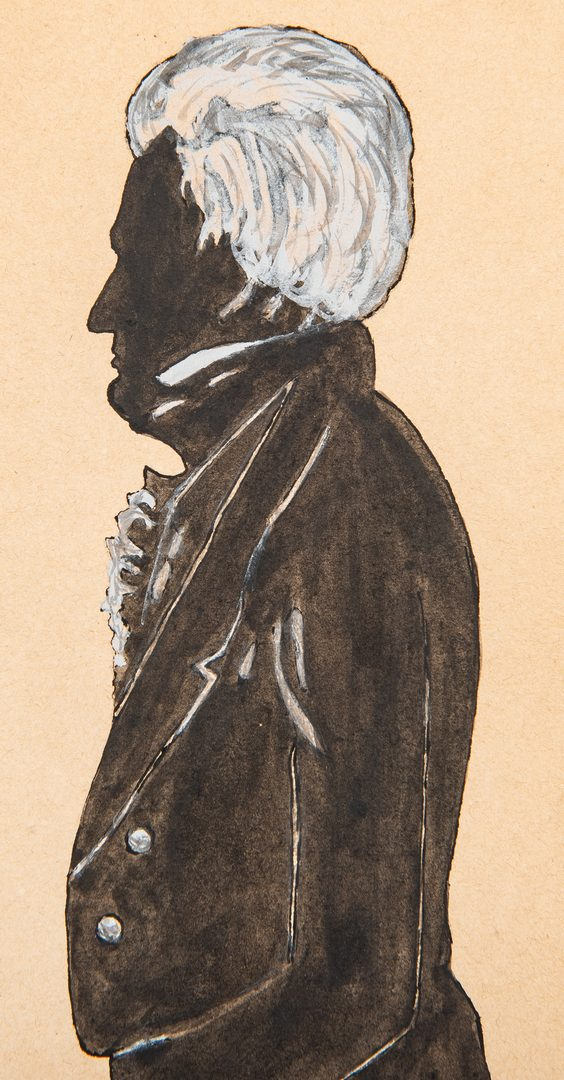 Lot 182: Watercolor and gouache silhouette of Andrew Jackson