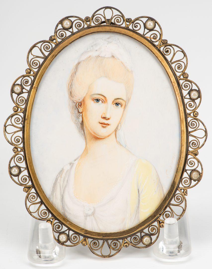Lot 184: 4 miniature portaits inc. The Washingtons and Marie Antoinette