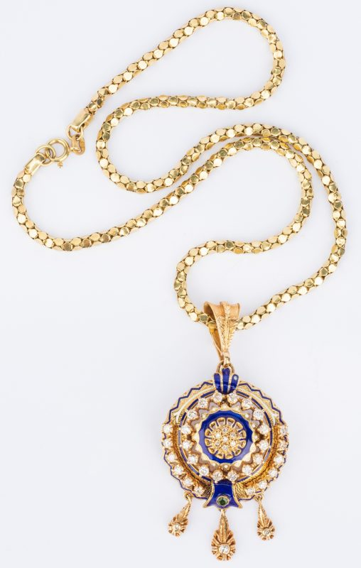 Lot 185: 14K/18K Diamond Enamel Necklace
