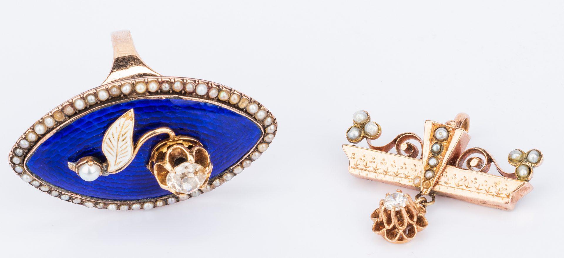Lot 186: 5 Jewelry items inc. dia. enamel ring