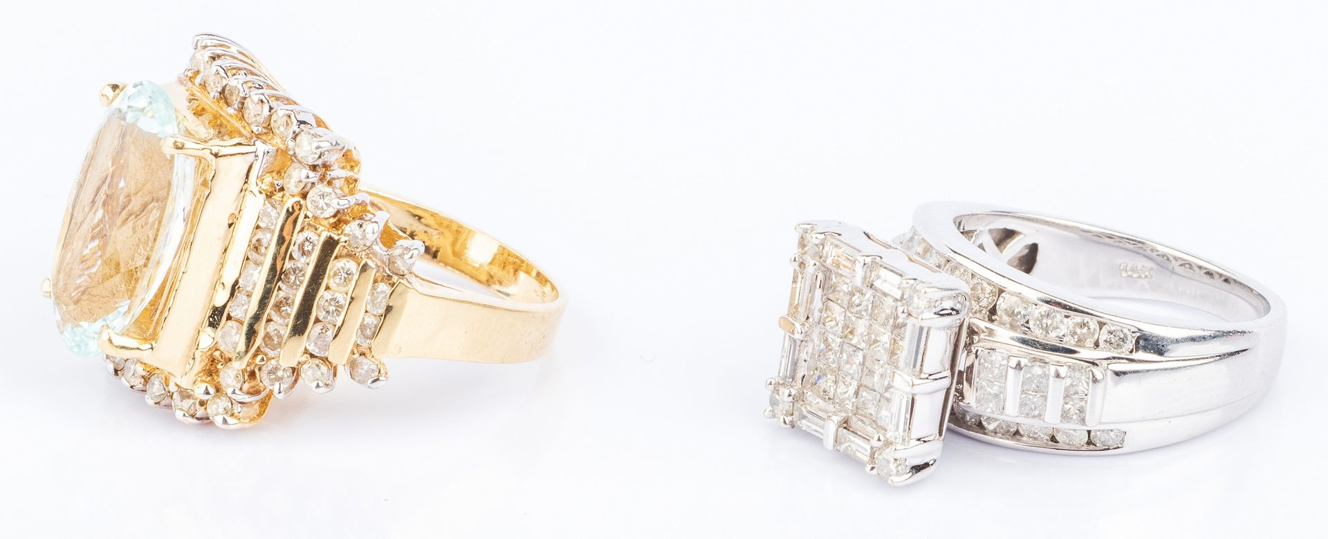 Lot 188: Two 14K Diamond Fashion Rings