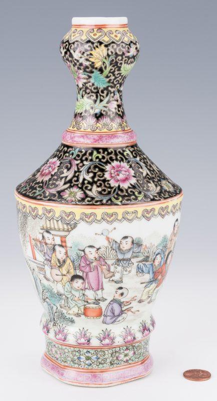 Lot 18: Famille Rose Garlic Head Bottle Vase