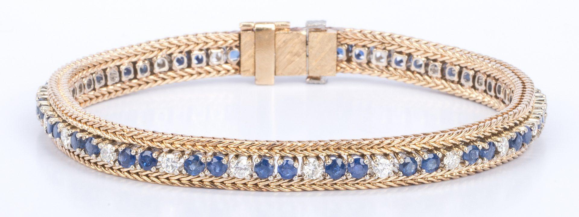 Lot 194: 14K Sapphire & Diamond Line Bracelet