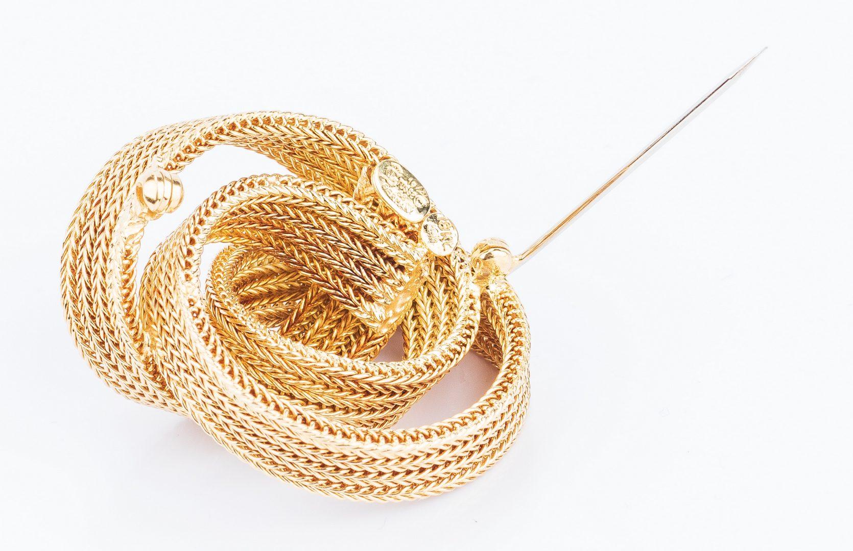 Lot 195: 18K Vintage Swirl Ribbon Knot Pin