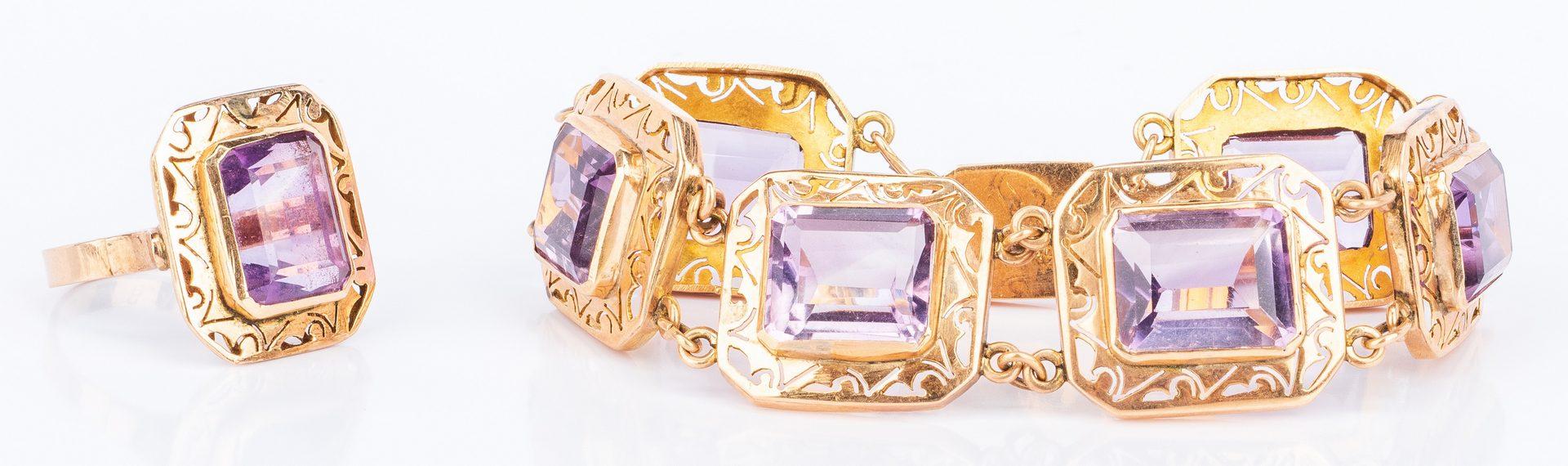 Lot 196: 3 Sets 10K Stone Bracelets w/ Rings