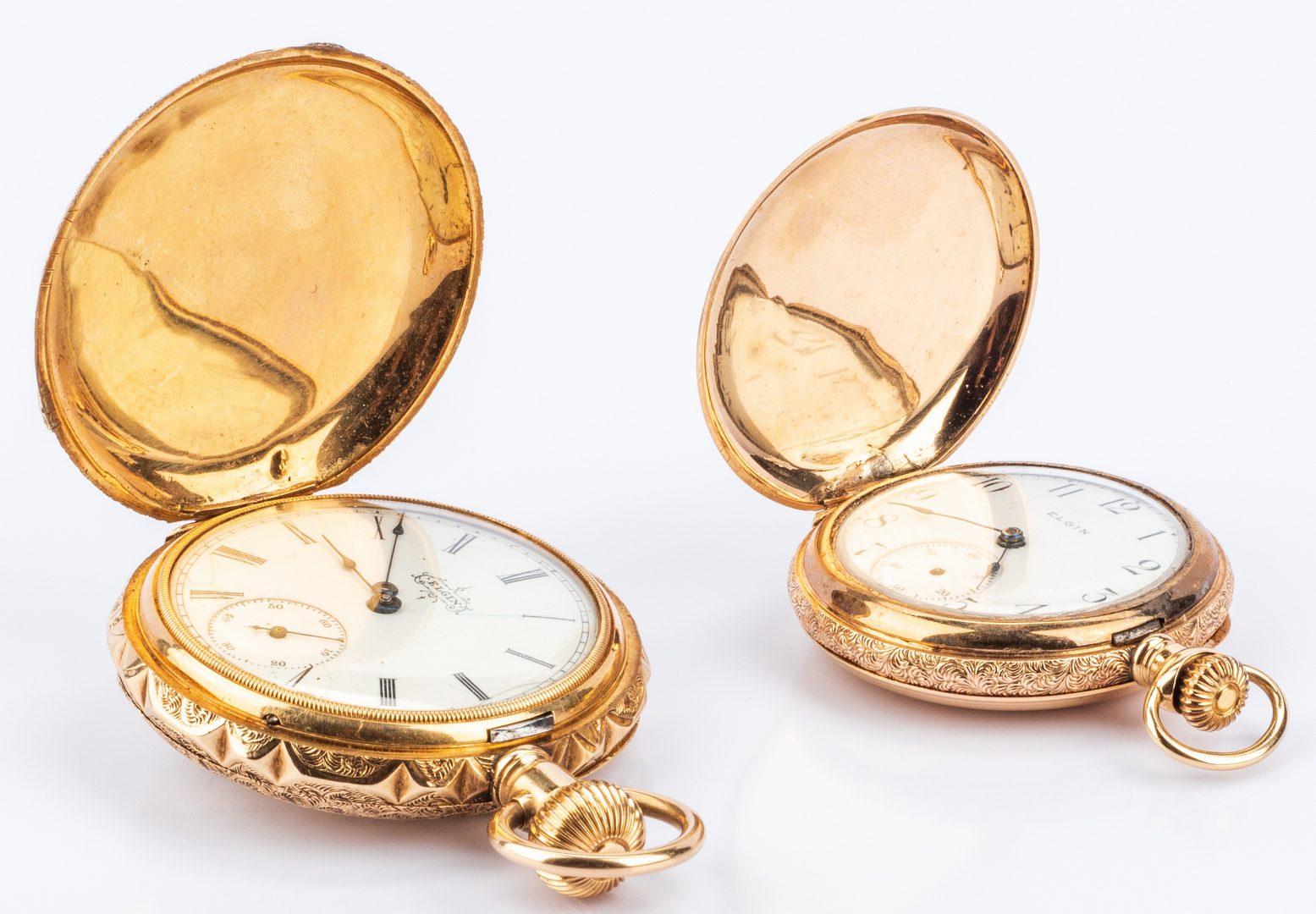 Lot 197: 2 14K Ladies Elgin Hunting Case Watches