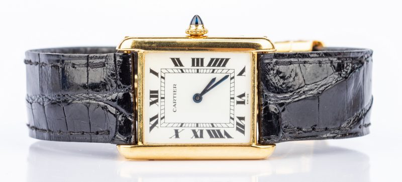 Lot 199: Gents 18K Cartier Tank Watch