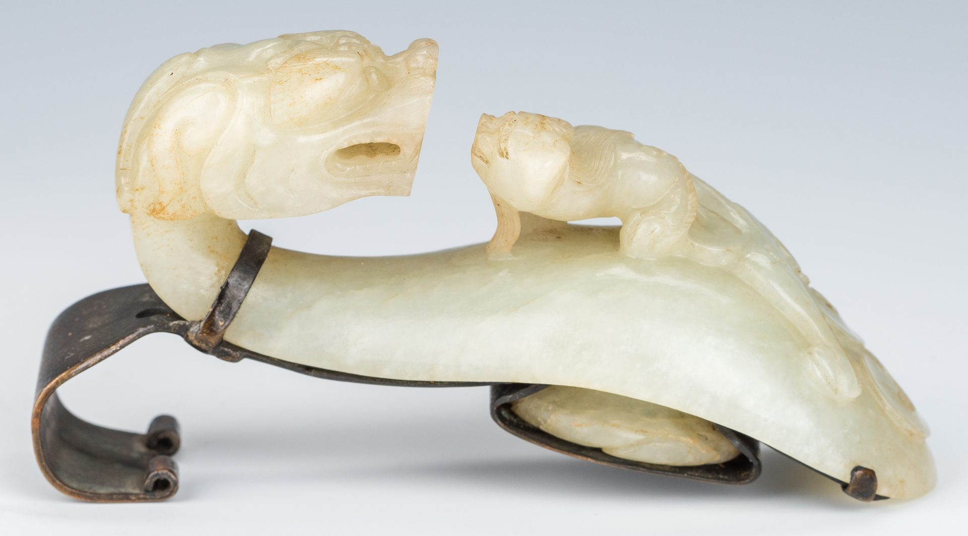 Lot 1: 2 Chinese White Jade Buckles w/ Metal Mounts