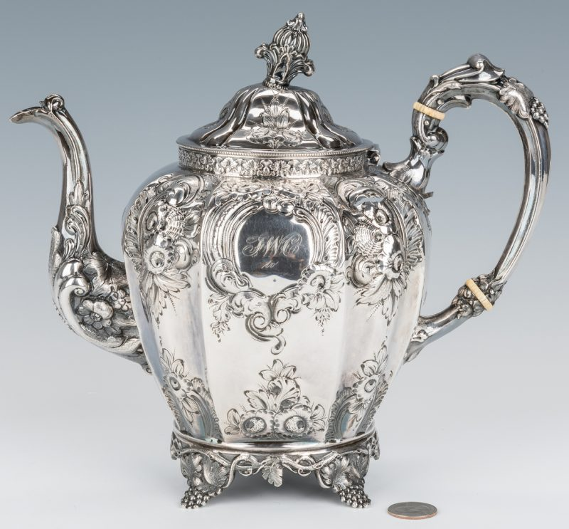 Lot 208: American Coin Silver Repousse Teapot, Coleman Family History