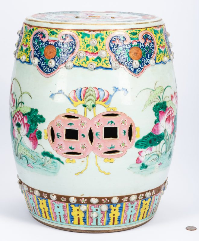 Lot 20: Chinese Qing Famille Rose Porcelain Garden Seat