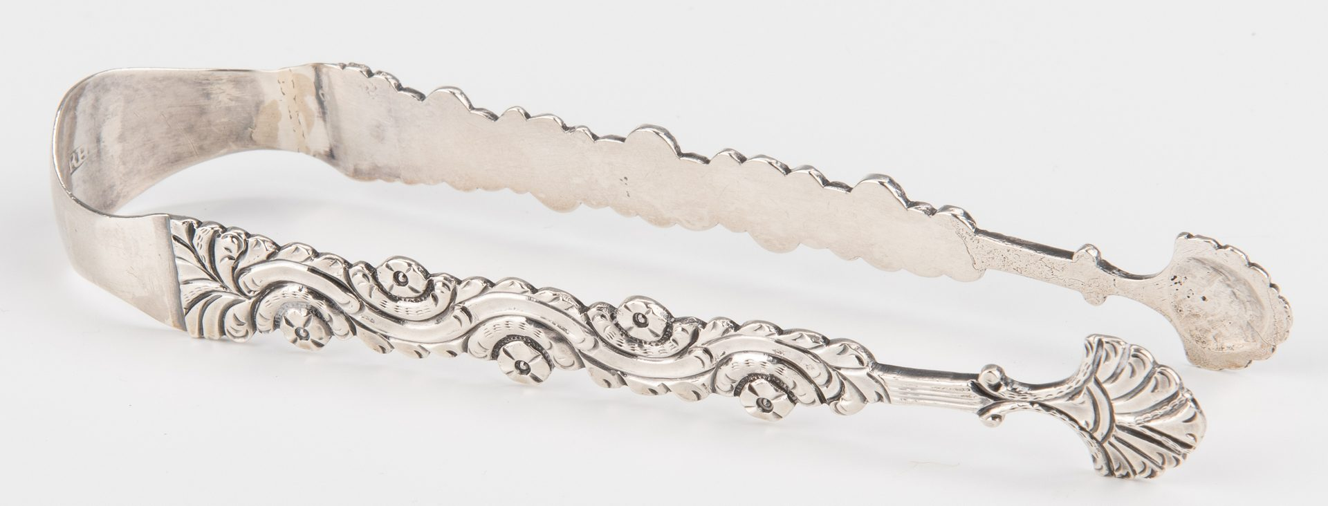 Lot 211: American 18th c. silver tongs
