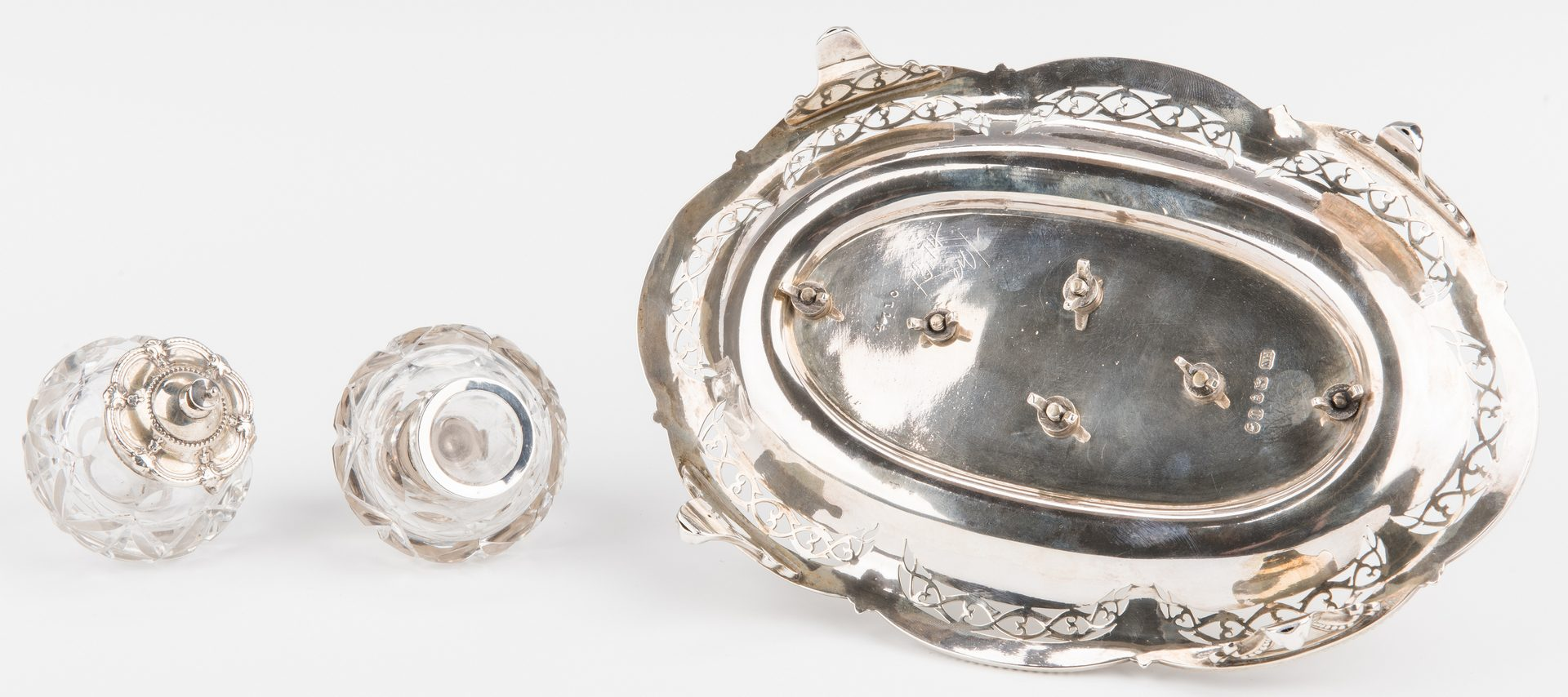 Lot 212: Victorian Sterling Standish, 2 inkwells