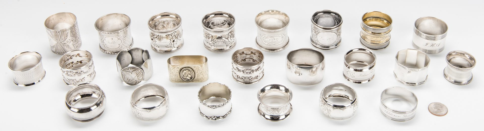 Lot 217: Collection of 23 Silver Napkin Rings