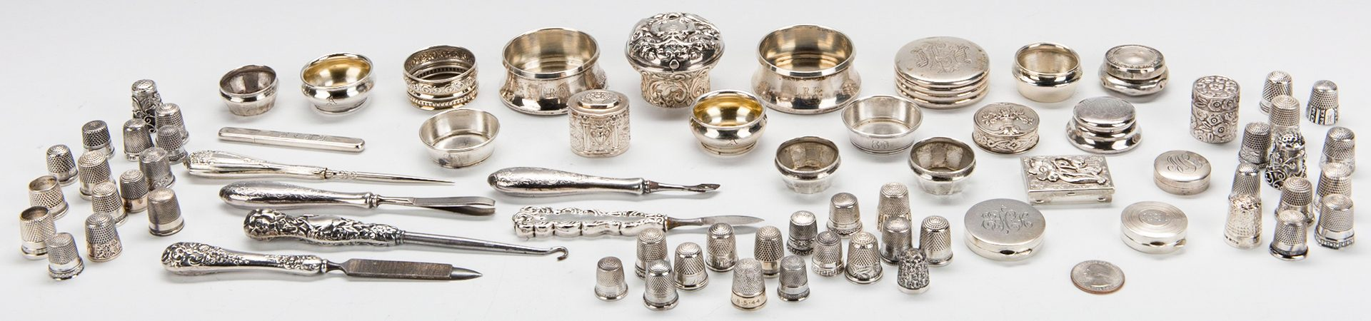 Lot 218: 72 pcs Silver Vertu inc. Thimble Collection